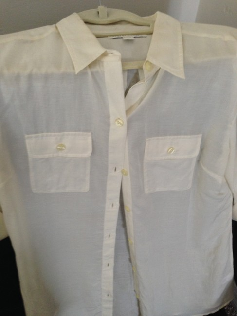 Banana Republic Blouse Safari Button Down Shirt cream