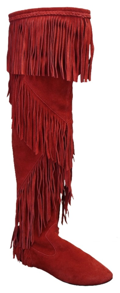 Sam Edelman Red 8m Suede Fringe Over Over Over The Knee Flat Boots/Booties 08c53f