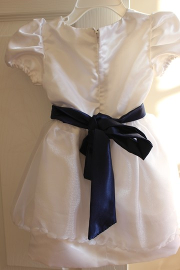 White Satin and Lace Overlay Custom Made Flower Girl 2t Feminine Bridesmaid/Mob Dress Size OS (one size)