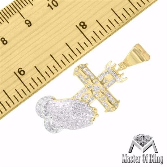 Other Praying Hands Cross Pendant Yellow Gold Finish Real Diamond 0.65 Ct 925 Silver