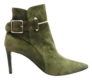 Balenciaga Suede Ankle Pointed Toe Olive, Green Boots