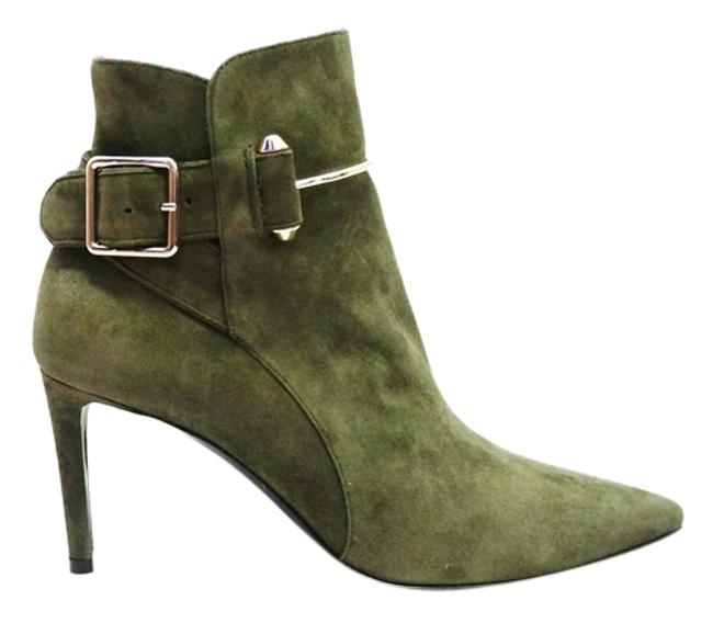 Item - Olive Green New Pierce Suede Ankle Pointed Toe Buckle Boots/Booties Size US 7 Regular (M, B)