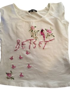 Betsey Johnson Black Design T Shirt White