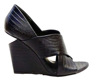 Alexander Wang New Ida Lizard Embossed Leather Peep Toe Heels Wedge Black Sandals