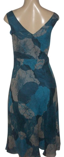 Item - Teal Multi Pre Owned Silk Fully Lined Fit Flare Cow Neck Neckline Mid-length Casual Maxi Dress Size 2 (XS)