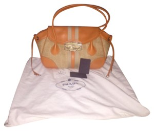 Prada Satchel in Orange & Natural