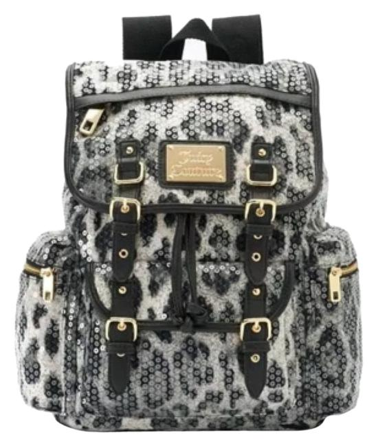 Item - Leopard Black/White Synthtic/Sequins/Faux Leather Backpack