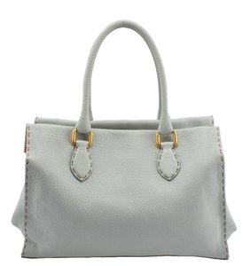 Fendi Selleria Leather Blue Tote in Light blue