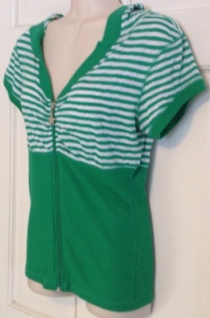 Mandee T Shirt Green White Striped