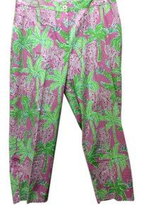 Lilly Pulitzer Colorful Florals Capris Pink/Green/White