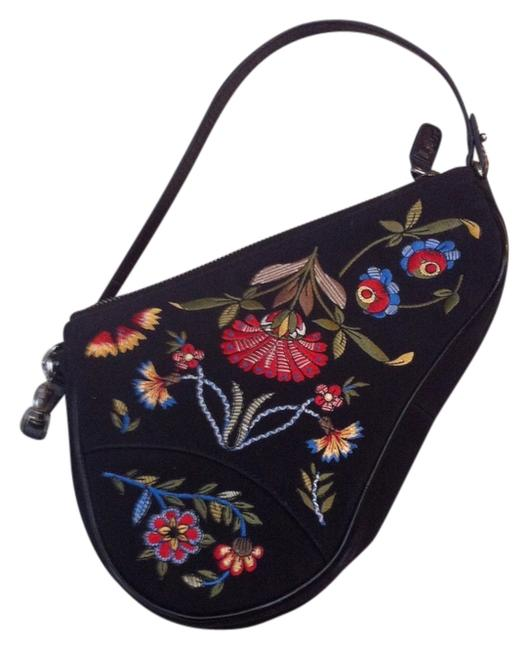 Item - Vintage Saddle Black with Red Yellow Embroidery Baguette