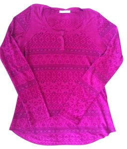 Testament Fair Isle Burnout T Shirt Fuschia