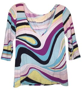 Emilio Pucci Rayon V-neck T Shirt Multicolor