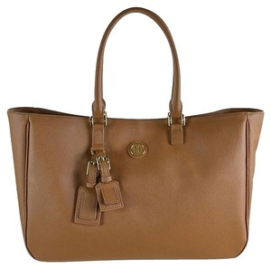 Tory Burch Robinson Stitched Mini Double-zip Robinson Robinson Stiched Robinson Mini Mini Robinson Mini Double Saffiano Leather Tote in Luggage
