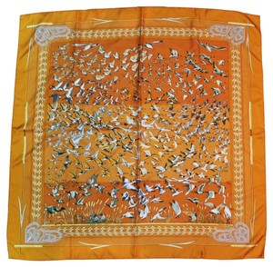 Hermès Hermes 100% Silk Orange Libres Comme L'Air Geese Scarf