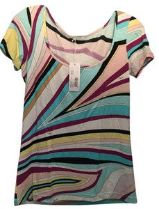 Emilio Pucci Rayon Classic Shirt Scoopneck Shortsleeve T Shirt Multicolor