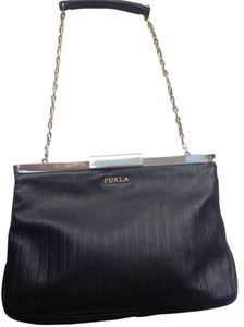 Furla Leather Gold Hardware Chain Strap Black Clutch