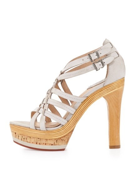 Frye Heels New Strappy Wood Ice White Sandals