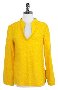 Tory Burch Star Print Cotton Silk Top Yellow
