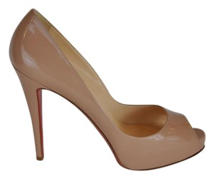 Christian Louboutin Very Prive 120mm Patent Leather Peep Toe Size 41 Nude Pumps