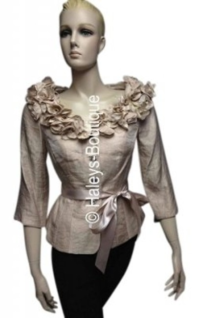 Preload https://item4.tradesy.com/images/victor-costa-beige-sheen-elegant-evening-cocktail-party-night-out-top-size-14-l-7838-0-0.jpg?width=400&height=650