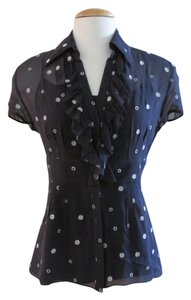 Ann Taylor Sheer Embroidered Ruffled Top Navy Blue
