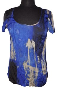 Banana Republic Tie Dye Stretchy Silk Top Blue