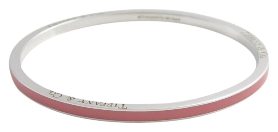 Pink Stripe Enamel Bangle Bracelet