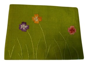 Other An embroiled hand made green tissue travel holder