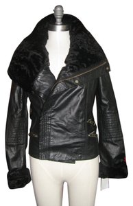 Badgley Mischka Biker Motorcycle Fur Leather Motorcycle Jacket