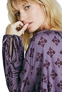 Free People Dazed Print Washed Plum Top