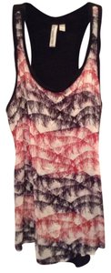 Hang Ten Jcp Jcpenney Tee Racerback Print Xs Small Summer Beach Versatile Hippie Boho Top Black, pink, purple