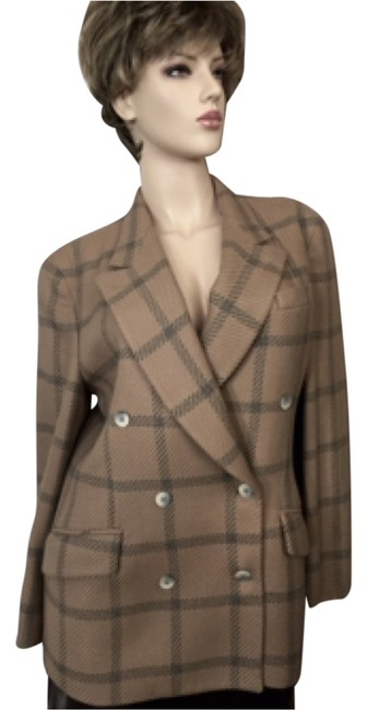 Item - Tan/Gray Plaid Vintage Double Breasted Blazer Size 10 (M)