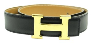 Hermès Hermes Paris Black & Brown Constance Leather Belt with Gold