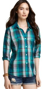 Rails Preppy Plaid Comfy Cool Button Down Shirt jade