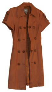 Kenna-T Leather Brown Vest Coat Cognac Leather Jacket