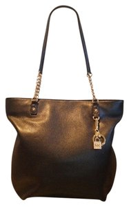 Michael Kors Leather Charm Chain Goldtone Hardware Shoulder Bag