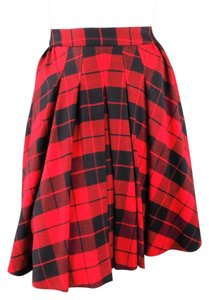 Dolce&Gabbana Plaid Flannel Pleated Skirt Red