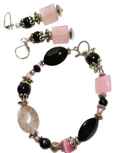 Other Handmade Gemstone Glass Bracelet Earrings Set Pink Black J1415