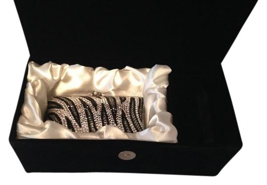 Jere Evening Clear & Crystals Long Chain Inside New Comes In A Velvet Covered Box. Silver/Black Clutch