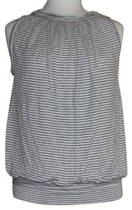 Max Studio T Shirt grey and white stripes