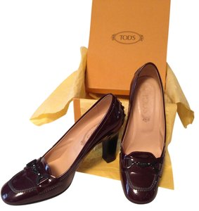 Tod's Patent Leather Rubber Sole Color Wine Pumps