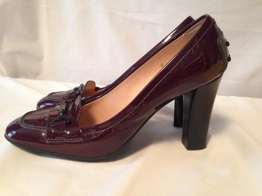Tod's Patent Leather Rubber Sole Wine Color Red (Wine) Pumps