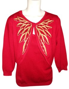 Bob Mackie Holiday Set Sequin Embroidered Sweater