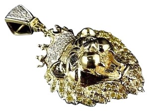 Other 10K Yellow Gold Genuine Diamond Polished King Lion Head Pendant 0.50ct 1.50 Ins