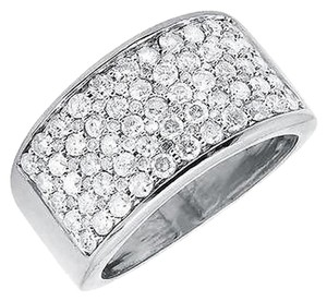Jewelry Unlimited Mens 10k White Gold Multi Rows Wide Genuine Diamond Pinky Ring Band 2.50ct.