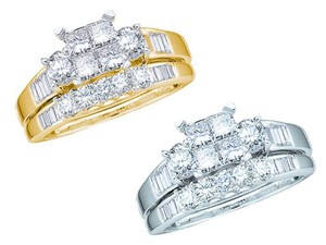 Other Women's Ladies Princess Cut Diamond Bridal Engagement Ring Set