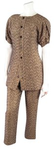 Saint Laurent YVES SAINT LAURENT Size 6 Metallic Gold Tweed Pants and Puff Sleeve Jacket Set