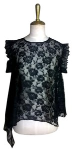 Lisa Nieves Lace Lace Trim Casual Short Sleeve Top Black