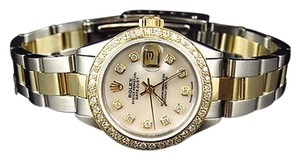 Rolex Ladies 18k Stainless Steel Tone Datejust Diamond Oyster Watch 2.0 Ct